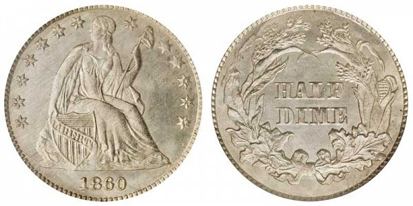 1860 Transitional Pattern Seated Liberty Dime - Obverse of 1859 - Reverse of 1860 - With Stars