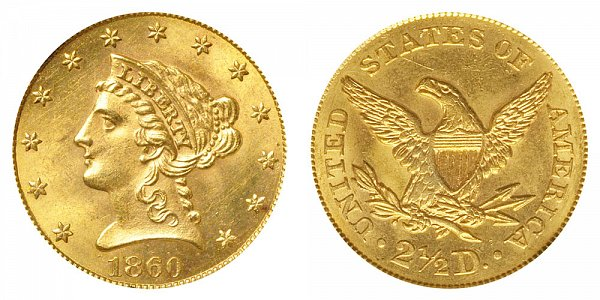 1860 Liberty Head $2.50 Gold Quarter Eagle - Old Reverse - Type 1