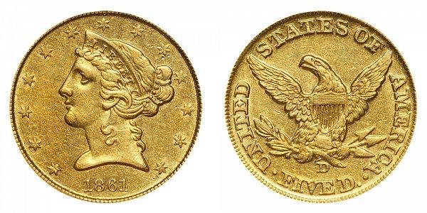 1861 D Liberty Head $5 Gold Half Eagle - Five Dollars