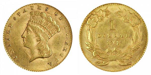 1861 Large Indian Princess Head Gold Dollar G$1
