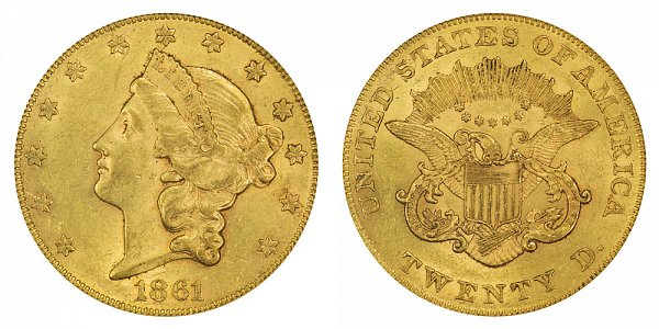 1861 Normal Reverse Liberty Head $20 Gold Double Eagle - Twenty Dollars