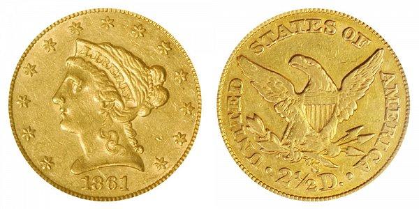 1861 S Liberty Head $2.50 Gold Quarter Eagle - 2 1/2 Dollars
