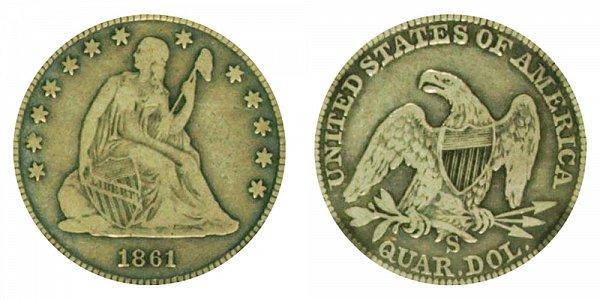 1861 S Seated Liberty Quarter