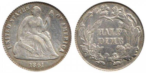 1861 Seated Liberty Half Dime