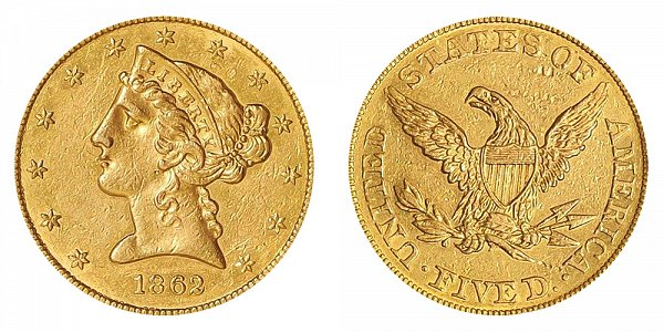 1862 Liberty Head $5 Gold Half Eagle - Five Dollars