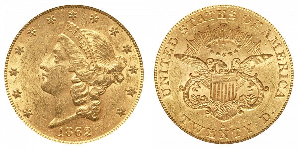 1862 S Liberty Head $20 Gold Double Eagle - Twenty Dollars