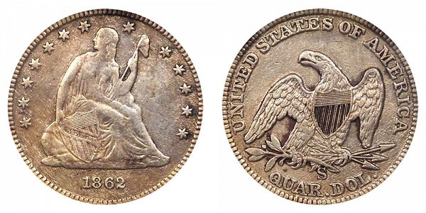 1862 S Seated Liberty Quarter
