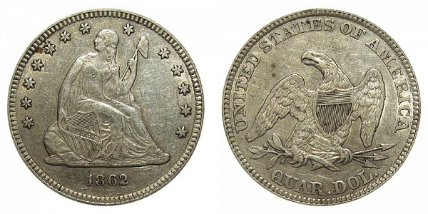 1862 Seated Liberty Quarter
