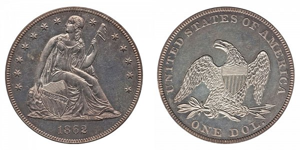 1862 Seated Liberty Silver Dollar