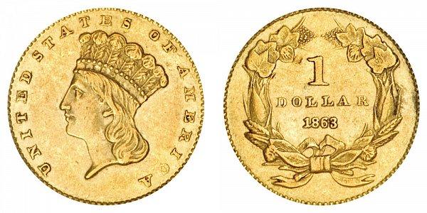 1863 Large Indian Princess Head Gold Dollar G$1