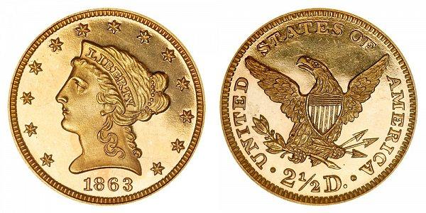 1863 Liberty Head $2.50 Gold Quarter Eagle Proof - 2 1/2 Dollars