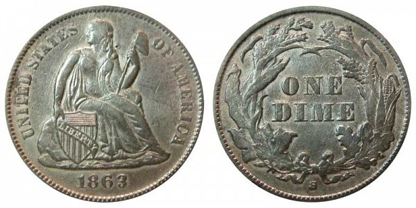 1863 S Seated Liberty Dime