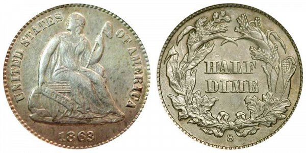 1863 S Seated Liberty Half Dime