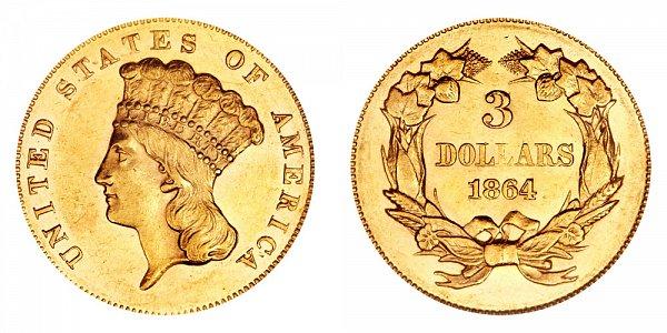 1864 Indian Princess Head $3 Gold Dollars - Three Dollars