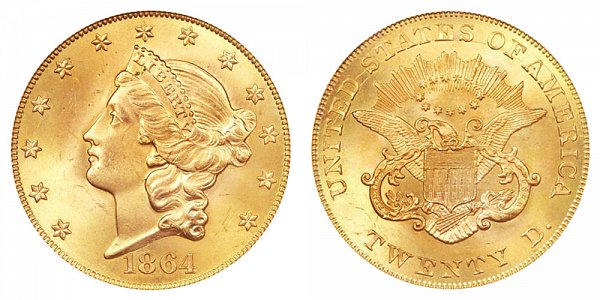 1864 Liberty Head $20 Gold Double Eagle - Twenty Dollars