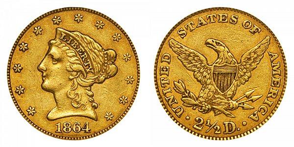 1864 Liberty Head $2.50 Gold Quarter Eagle - 2 1/2 Dollars