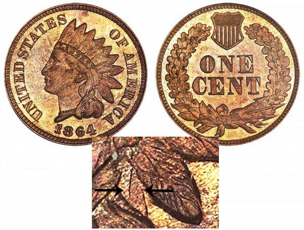 1864 No L Indian Head Cent - Bronze Penny