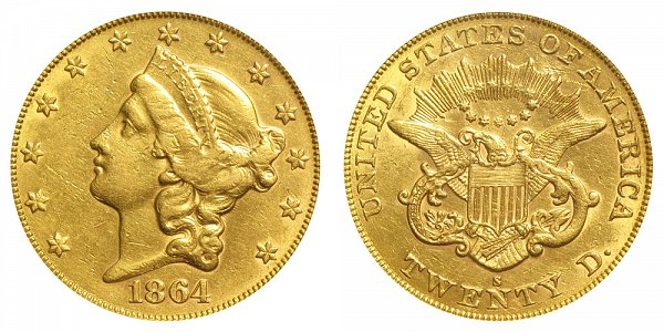 1864 S Liberty Head $20 Gold Double Eagle - Twenty Dollars