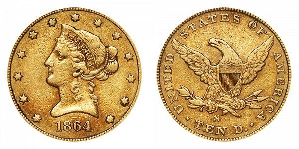 1864 S Liberty Head $10 Gold Eagle - Ten Dollars