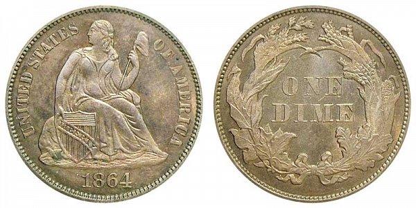 1864 Seated Liberty Dime