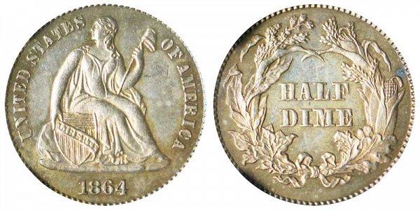 1864 Seated Liberty Half Dime