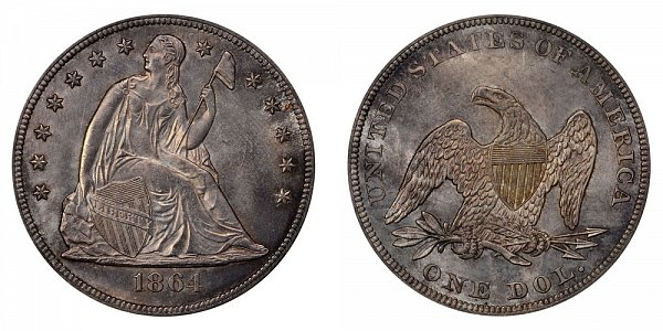 1864 Seated Liberty Silver Dollar