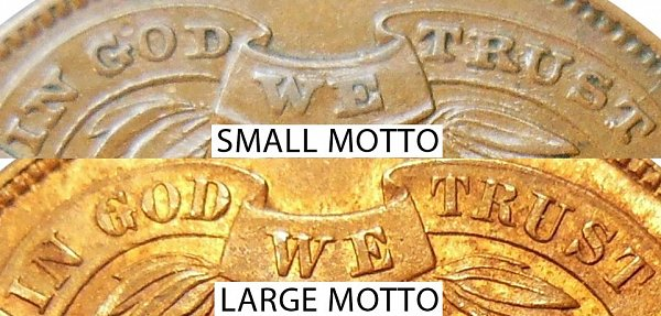1864 Small Motto vs Large Motto Two Cent Piece - Difference and Comparison
