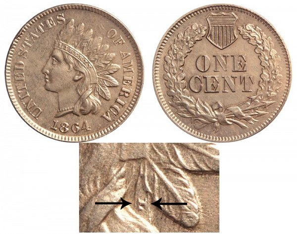 1864 With L Indian Head Cent - Bronze Penny