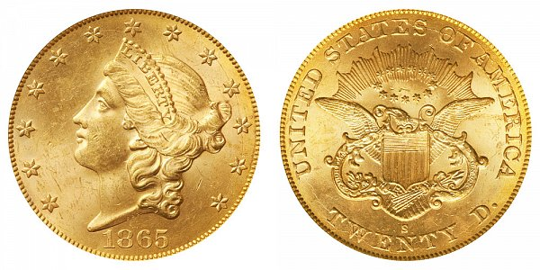 1865 S Liberty Head $20 Gold Double Eagle - Twenty Dollars