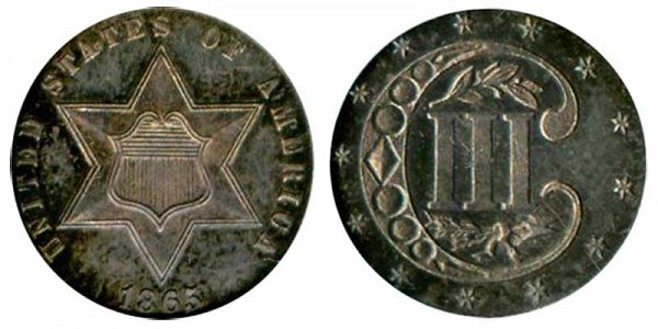 1865 Silver Three Cent Piece Trime