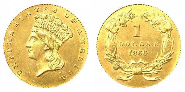 1866 Large Indian Princess Head Gold Dollar G$1