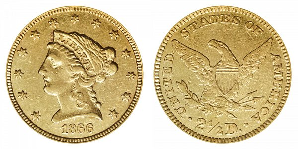 1866 Liberty Head $2.50 Gold Quarter Eagle - 2 1/2 Dollars