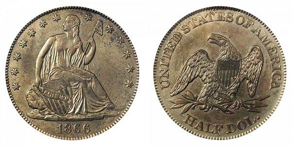 1866 Seated Liberty Half Dollar - No Motto - Unique