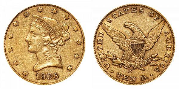 1866 S No Motto - Liberty Head $10 Gold Eagle - Ten Dollars
