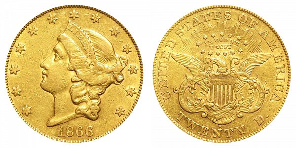 1866 S With Motto Liberty Head $20 Gold Double Eagle - Twenty Dollars