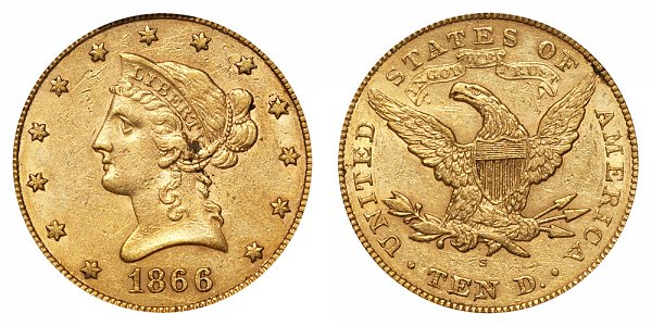1866 S With Motto - Liberty Head $10 Gold Eagle - Ten Dollars