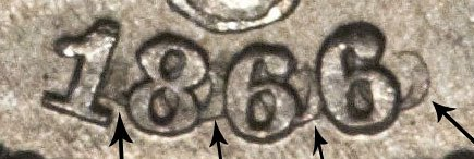 1866 Shield Nickel Repunched Date