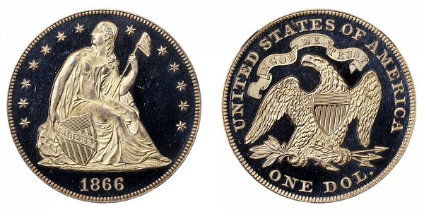 1866 Seated Liberty Silver Dollar - With Motto Added