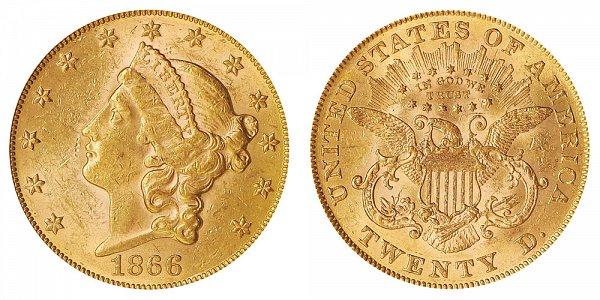 1866 With Motto Liberty Head $20 Gold Double Eagle - Twenty Dollars