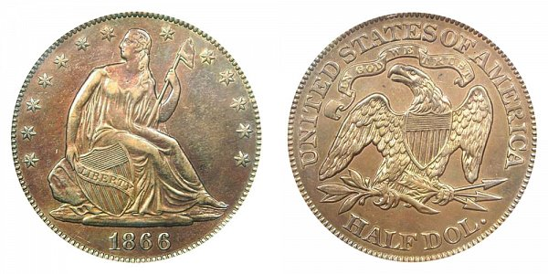 1866 Seated Liberty Half Dollar - With Motto
