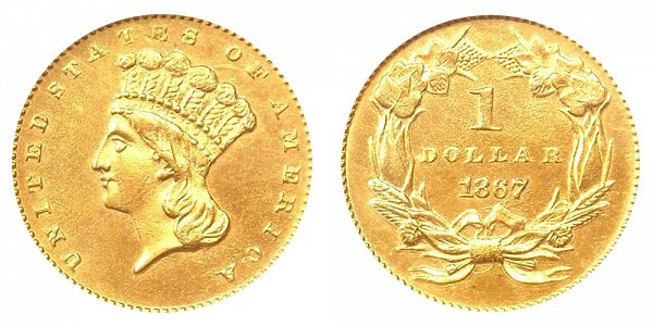 1867 Large Indian Princess Head Gold Dollar G$1