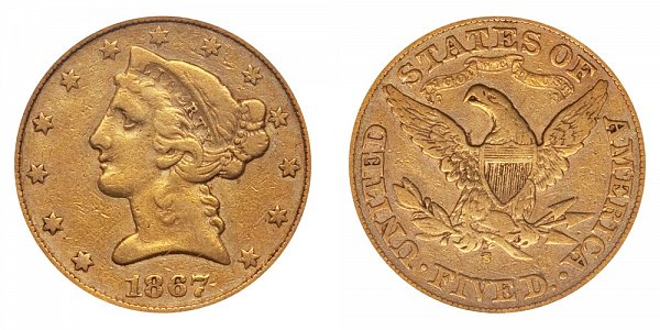 1867 S Liberty Head $5 Gold Half Eagle - Five Dollars