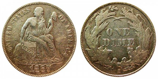 1867 S Seated Liberty Dime