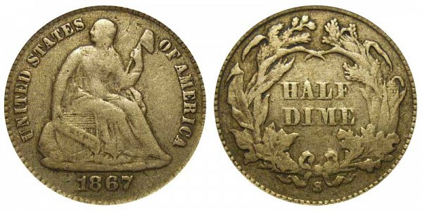 1867 S Seated Liberty Half Dime