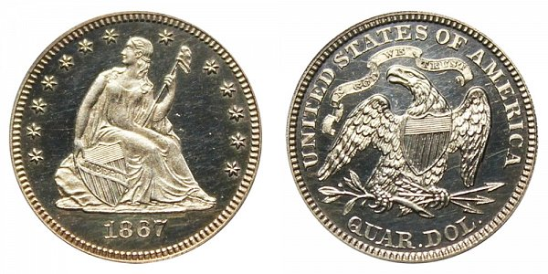 1867 Seated Liberty Quarter
