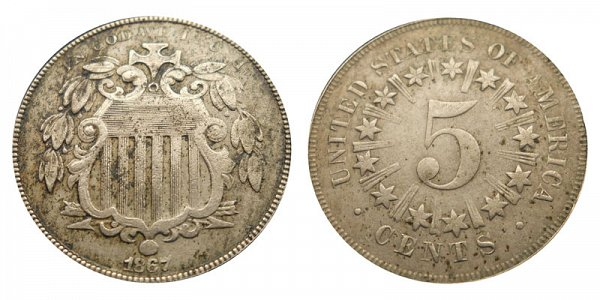 1866 Shield Nickel Type 1 With Rays