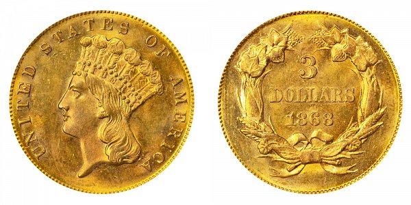 1868 Indian Princess Head $3 Gold Dollars - Three Dollars
