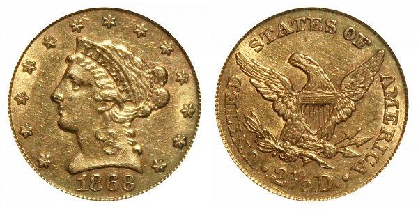 1868 Liberty Head $2.50 Gold Quarter Eagle - 2 1/2 Dollars