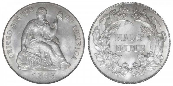 1868 Seated Liberty Half Dime
