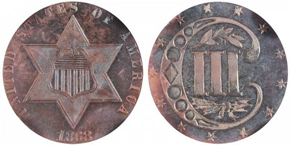 1868 Silver Three Cent Piece Trime